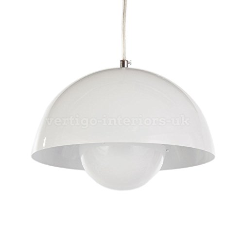 Price comparison product image Flowerpot Style Mid-Century Modern Retro Ceiling Pendant Lamp - Inspired by the Designs of Verner Panton (White)