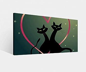 Foto en Lienzo Corazón Amor Gato Gatos Par Negro Rojo Animales Imagen Imágenes Lienzo Mural Madera Cuadros en Lienzo Del Fabricante 9W1015-60x30cm: ...