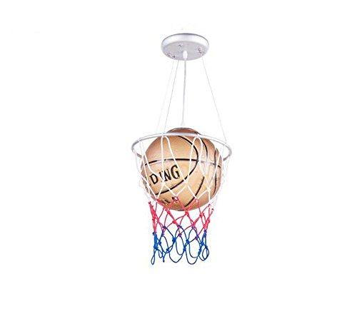 Childrens Pendant Glass Light (Children's Basketball Pendant Lamp, Creative Boys and Girls Room Chandelier E27 1, Glass Material)