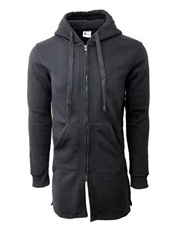 Henry & William Men's Longline Fleece Zip UP Hoody 5X Black