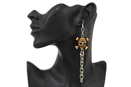 TFJ Women Fashion Hook Earrings Set Long Silver Metal Chains Fringes Beige Skeleton Pirate Skull Bones