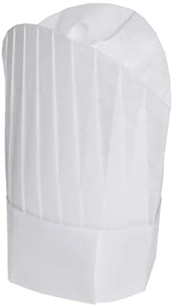 """San Jamar CHR12 Deluxe Viscose Non-Woven Flair Style Disposable Chef Hat, 12"""" Height (pack of 50)"""