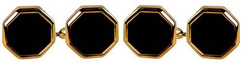 David Van Hagen Mens Gold Plated Onyx Octacton Double Chain Cufflinks - Black/Gold