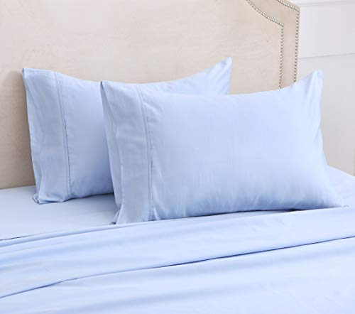 100% Egyptian Cotton Sheets, 500 Thread Count Long Staple Cotton, Blue Twin Sheets Set for Christmas Holiday Winter,Sateen Weave for Soft and Silky Feel, Fits Mattress Up to 16'' DEEP Pocket -