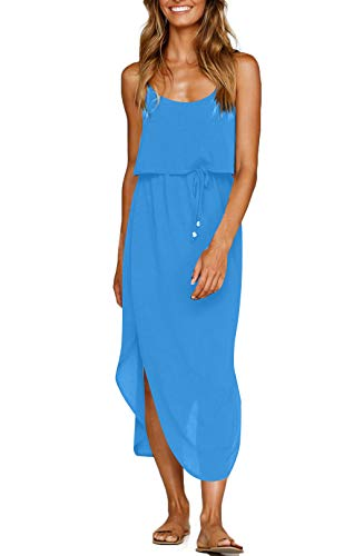 NERLEROLIAN Women's Adjustable Strappy Split Summer Beach Casual Midi Dress (Sky Blue, Small)