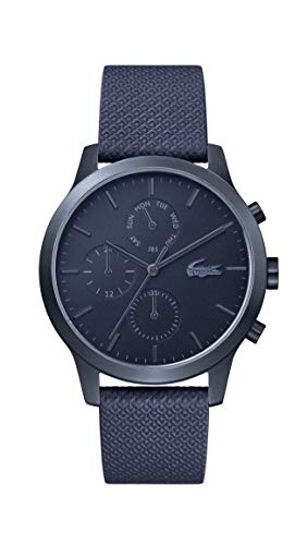 Price comparison product image Lacoste Men's 12.12 Premium Quartz Multifunction Blue PVD IP and Leather Strap Strap Casual Watch,  Color: Blue (Model: 2010998)