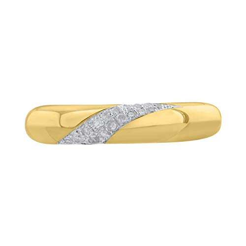 10k Yellow Gold Diamond Anniversary Band Ring (0.092 cttw, H-I Color, I2-I3 - Gold Ring Diamond Wave