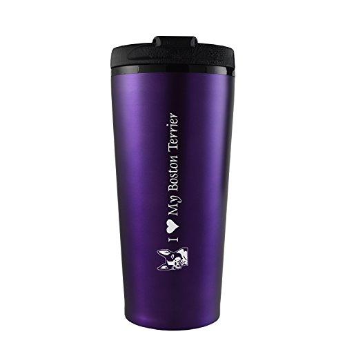 16 oz. Travel Mug Tumbler -I love my Boston Terrier-Purple