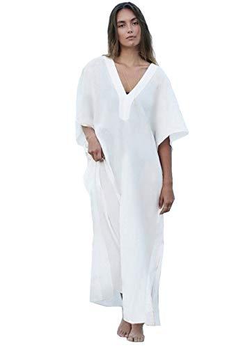 (Women Long Maxi Cover Ups Swimwear Cotton Turkish V Neck Beach Poolside Attire White Caftan Loungewear (7219))