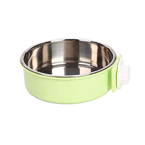 Instenira Hanging Food Water Dog Bowl, Stainless Stell Removable Pet Crate Bowl with Bolt Cage Food Water Feeder Cup for Cats, Dogs, Small Animals (Large, Green) (Green Small Animal)