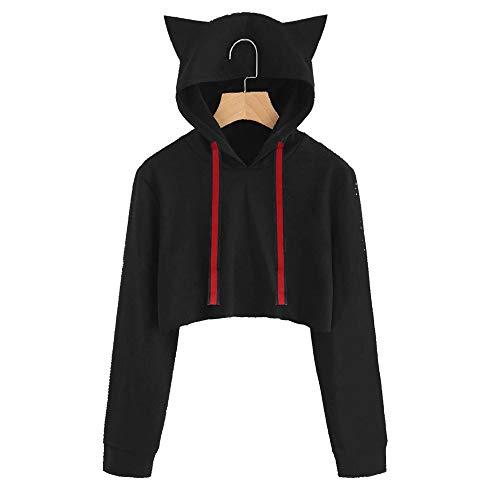 Camicetta Pullover Lunga Cappuccio Donna Nero con Manica Cat Cat T Sweater a Cappuccio con Donna e Shirt Felpa Tumblr Z8XYwpq