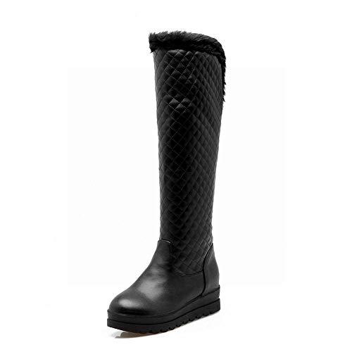 Xdx Gruesas Mujer Negro Algodón De Invierno Planas Moda 42 Nieve Sobre 34 Rodilla Botas La botas botas rBrqanf7