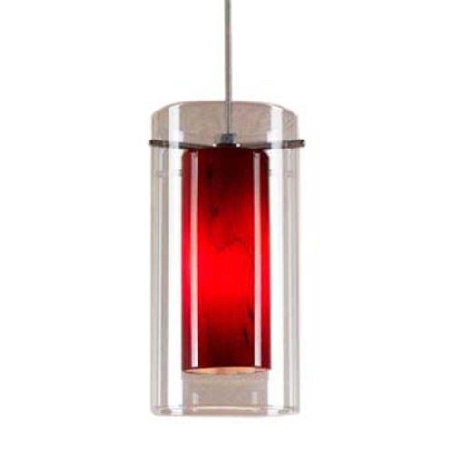 Cal Lighting UP-1054/6-BS Pendant with Clear and Red Glass Shades, Brushed Steel Finish