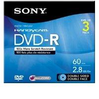 Sony - Blank Media 3PK 8CM DVD-R Double-Sided W/HANGTAB