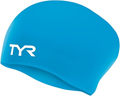 TYR  Long Hair Wrinkle-Free Silicone Swim Cap, Blue
