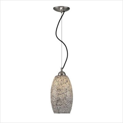 Lite Source LS-19851PS/WHT Type A 60W Calix Pendant Lamp and PS with White Crackled Glass
