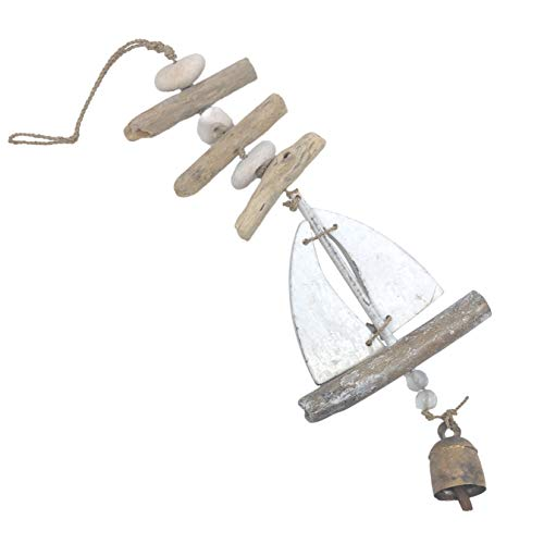 Ella Sussman Sailboat Boat Bleached Driftwood Outdoor Wind Chime Soothing Nana Bell (Driftwood Chime Glass)