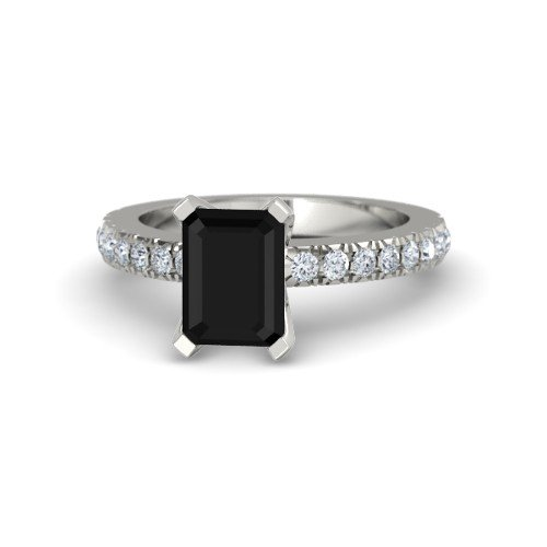 Emerald-Cut Black Onyx Platinum Engagement Ring â€