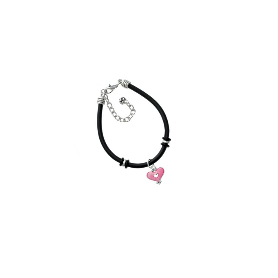 Hot Pink Enamel Heart with Cutout Black Rubber Charm Bracelet [Jewelry]