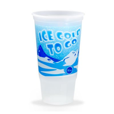 32 oz. Trans Cups with Lids - Ice Cold To Go Design - QTY 100 (32oz To Cups)