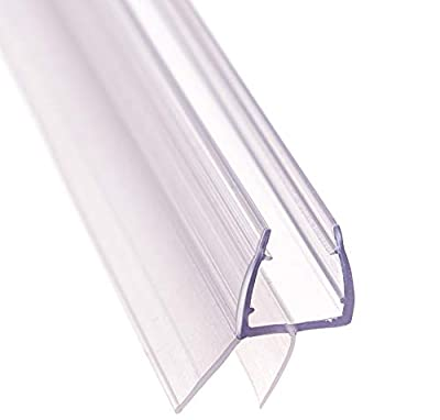 """Aulett Home Frameless Shower Door Bottom Seal with Drip Rail - 3/8"""" x 36"""" Sweep - Glass Door Seal Strip"""
