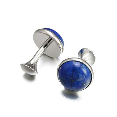 - JIA-WALK Low Key Luxury Lapis Lazuli Cufflinks for Mens Gold Color Round Stone Cuff Links,Imitation Rhodium Plated