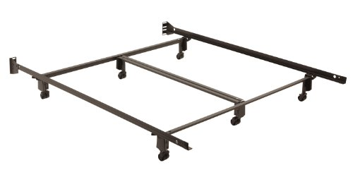Fashion Bed Group Inst-A-Matic Premium Bed Frame 761R with Headboard Brackets and (6) 2-Inch Locking Rug Roller Legs, Black Finish, Queen