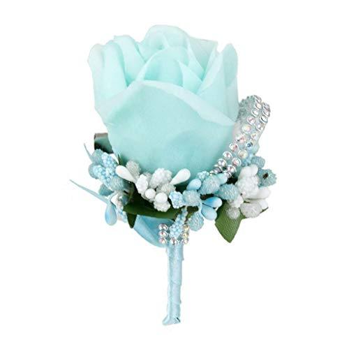 Wedding Bridal Groom Tuxedo Boutonniere Crystal Rose Brooch Silk Flower Corsage |Color - Skyblue|