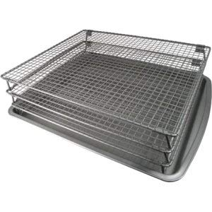 - MISC Jerky Rack 3 Tier Square Stackable Drying Rack Home Kitchen Baking Pan Non-Stick Cooling Trays Grey, Steel
