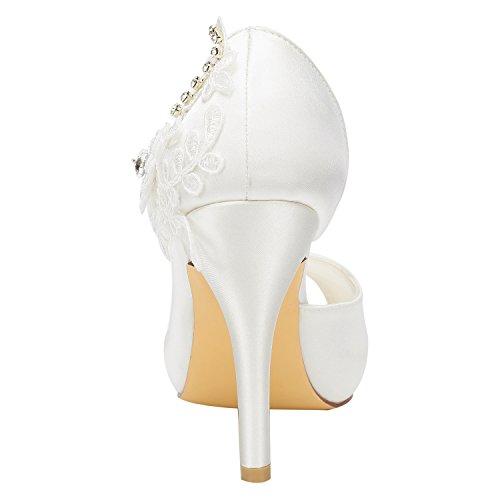 Detail Bridal Slip Pumps Alto Scarpe di EU35 Seta Tacco on Emily Peep Avorio da Toe Sposa pqUvTxT1w
