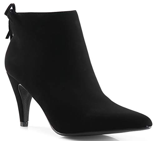 LUSTHAVE Women's Sally Mid Heel Pointy Toe Ankle Bootie Boots Black 6.5 ()