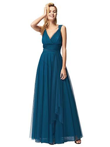 Teal Juniors Dress - Ever-Pretty Women Feminine Vneck Sleeveless Bridesmaid Dresses 12US Teal