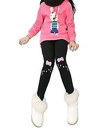 Girls Winter Warm Fleece Lined Elastic Waist Velvet Stretchy Thick Cotton Leggings