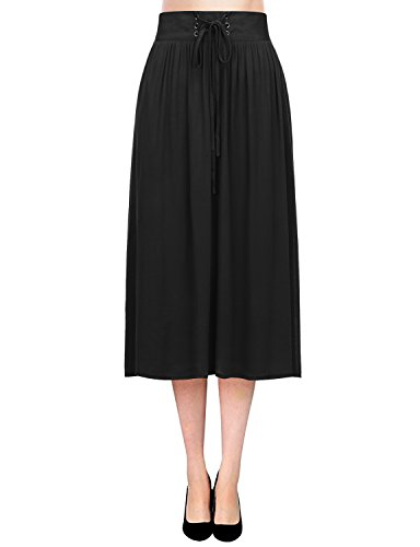 REGNA X Boho for women flare street vintage black large chiffon midi knee length skirt - Satin Skirt Flare