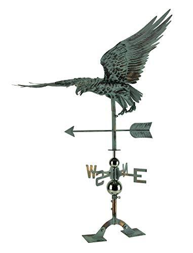 Things2Die4 Verdigris Patina Metal Flying Eagle Weather Vane with Roof ()