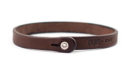 Genuine Italian Leather Bracelet with Swarovski Crystal Closure | Multiple Colors Available | Handcrafted in Italy (Te Color)