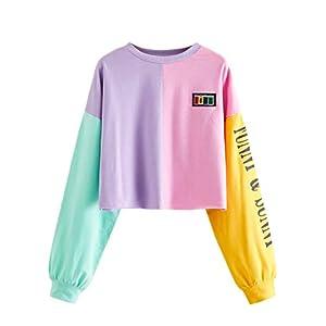 SweatyRocks Women's Letter Print Color Block Crop Sweatshirt Long Sleeve Pullover Tops