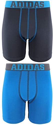 (adidas Boys / Youth  Sport Performance Climalite Boxer Brief Underwear (2-Pack), Onix/Solar Blue, X-Large)