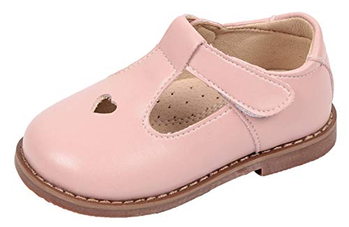 WUIWUIYU Girls Oxfords Shoes T-Strap Casual Walking School Uniform Dress Princess Mary Jane Flats Pink US Size 9 M]()