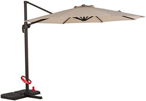Grand patio Super Sturdy 10 FT Aluminum Offset Umbrella, UV Protected Patio Cantilever Umbrella with Tilt and 360 Rotation, Champagne