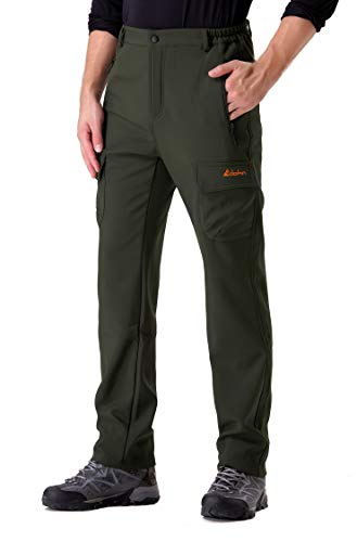 Clothin Men's Softshell Fleece-Lined Cargo Pants - Warm, Breathable, Water-Repellent, Wind-Resistant-Insulated(Army Green,XL) ()