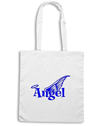 Shopper Shirt WITH ANGEL Speed Borsa TEXT Bianca WINGS FUN0590 EFw7q