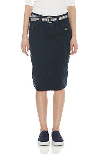 (Esteez Women's Knee Length Stretch Poplin Cargo Skirt Virginia Navy)
