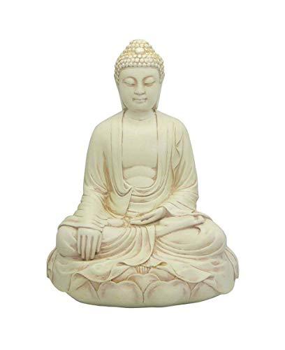 Buddha Groove Stone Finish Meditating Buddha Statue, 11.5 ()
