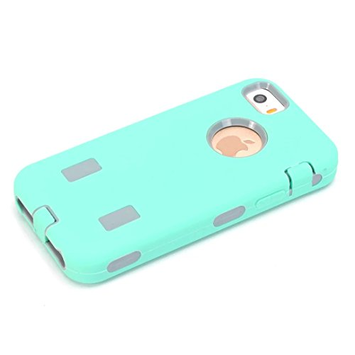 iPhone 5S hülle,iPhone 5 hülle,iPhone SE hülle,Lantier Robot Heavy Duty Dual Layer Soft Touch Stoß Schutzhülle mit harter PC Inner für Apple iPhone 5 5S SE Mint Green + Grau