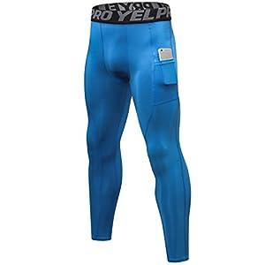 SILKWORLD Men's Compression Pants Pockets Cool Dry Sports Leggings Baselayer Running Tights