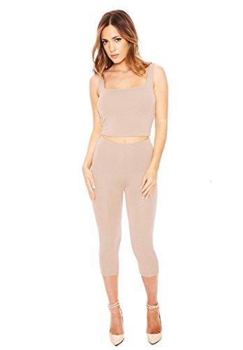 [ELF Season Women's Sexy 2 Pieces Short Sleeve Crop Top Shirt Pant Set ,nude,Medium] (Elf Outfit For Women)