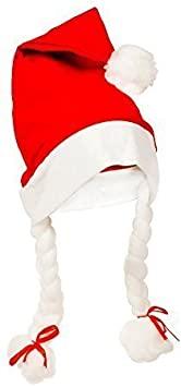 Christmas Santa Claus Fancy Dress Hat with Hanging Hair Plaits