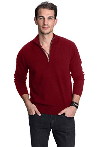 (State Cashmere Men's 100% Pure Cashmere Pullover Half Zip Mock Neck Sweater)