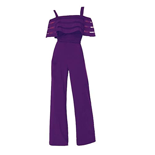 - Women's Elegant Short Sleeve Spaghetti Strap Jumpsuit Rompers Lace Ruffle Edge Wide Leg Palazzo Cropped Pants Lightweight Breathable Summer Beach Wedding Playsuit (Purple, L)